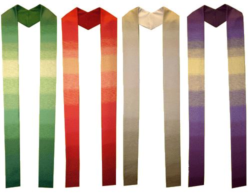 Neu! Wunderschöne handgewebte Stolen mit zartem Farbtonverlauf. Die Einzelexemplare mit detaillierter Beschreibung finden Sie im Menu unter handgewebte Stolen. Ab sofort können diese Stolen im Online Talar-Shop bestellt werden.