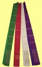 handgewebte Stola mit Lurexstreifen und Kassetten. Material 55% Trevira / 45% Schurwolle. Art.-Nr. 053-5