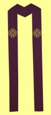 Stola mit gestickten Facettenkreuzen, in allen liturg. Farben erhältlich. Material 50% Baumwolle / 35% Viskose / 15% Leinen. Art.-Nr. 041-1-5