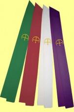 Stola mit gestickten Bogenkreuzen. Material 50% Baumwolle / 35% Viskose / 15% Leinen. Art.-Nr. 049-30