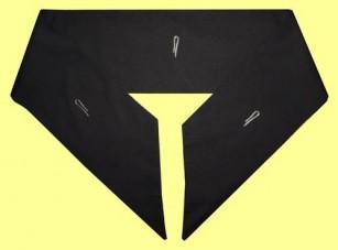 schwarzes Kragentuch aus reiner Schurwolle (Talarstoff) zum diskreten Überdecken des Hemdkragens, ohne Klammern, Art-Nr. 025-0-2