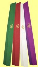 Stola mit gestickten Christussymbolen. Material 50% Baumwolle / 35% Viskose / 15% Leinen. Art.-Nr. 046-3